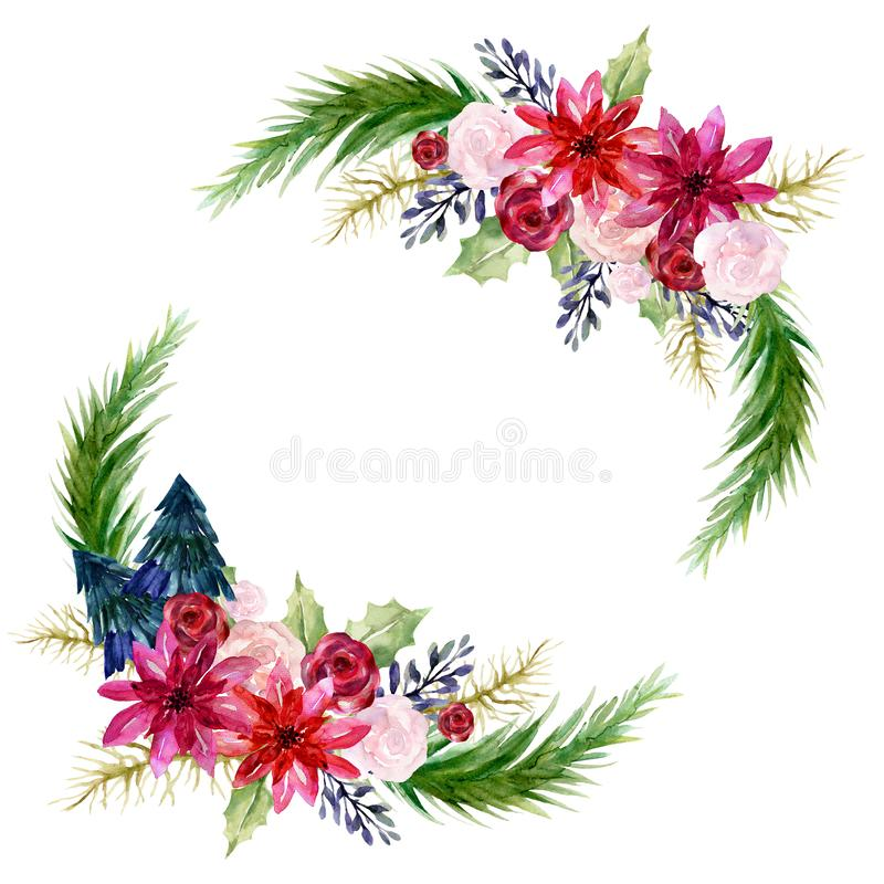 Watercolor poinsettia Hand painted winter Merry Christmas and Happy New Year isolated wreath bouquet illustration on white vector illustration