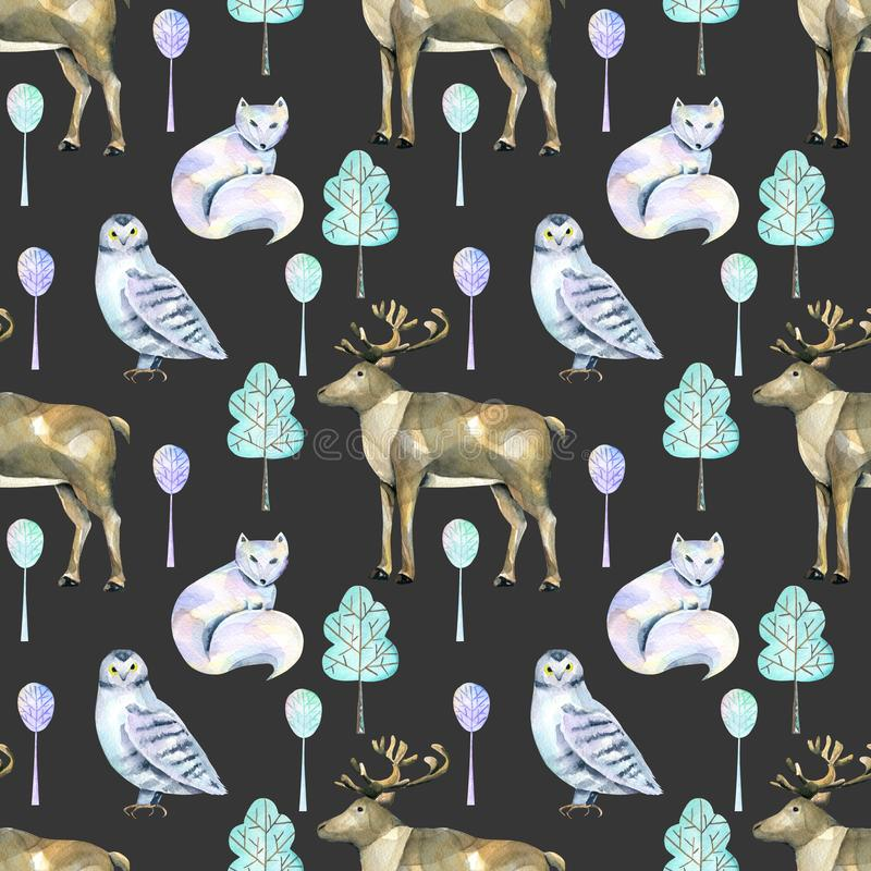 Watercolor polar deers, arctic foxes and owls in the forest seamless pattern vector illustration