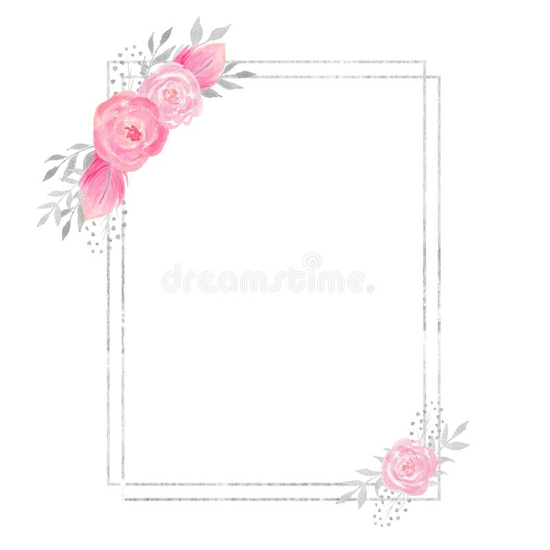 Watercolor polygonal frame border with floral decoration with rose,feathers, leaves, flowers and branches. Watercolor polygonal frame border with floral vector illustration