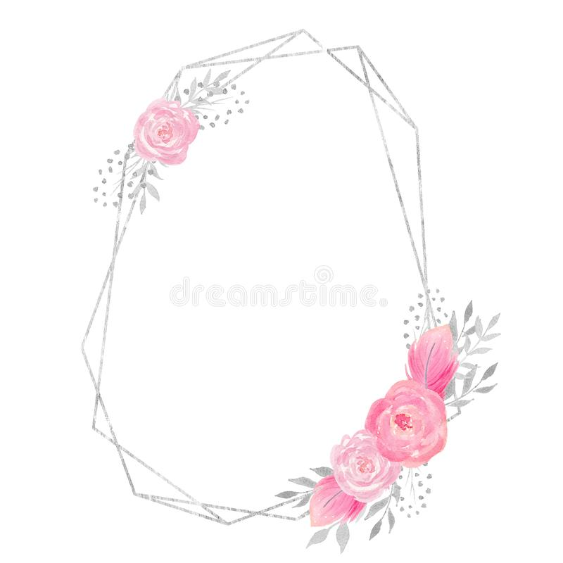 Watercolor polygonal frame border with floral decoration with rose, leaves, feathers, flowers and branches. Watercolor frame for your design. Perfect for stock illustration