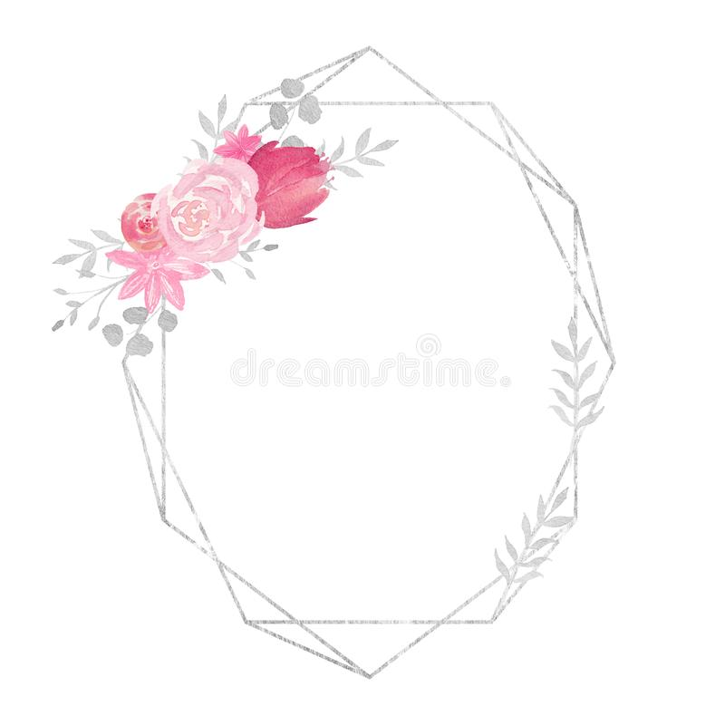 Watercolor polygonal frame border with floral decoration with rose, leaves, flowers and branches. Perfect for wedding, invitations, blogs,template card royalty free illustration