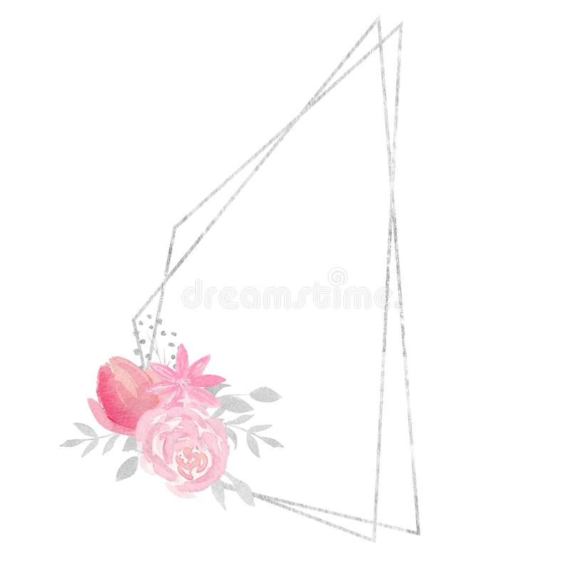 Watercolor polygonal frame border with floral decoration with rose, leaves, flowers and branches. Watercolor frame for your design. Perfect for wedding royalty free illustration