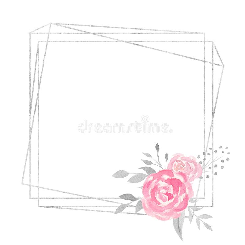 Watercolor polygonal frame border with floral decoration with rose, leaves, flowers and branches. Watercolor frame for your design. Perfect for wedding vector illustration