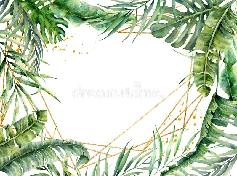Watercolor polygonal gold frame with palm leaves. Hand drawn floral label isolated on white background. Botanical royalty free illustration