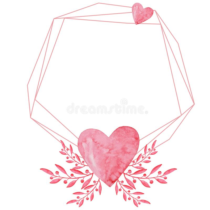 Watercolor polygonal invitation frame. St. valentine`s day. Wedding design. Red hearts and twigs, hand-drawn on paper. Greeting vector illustration
