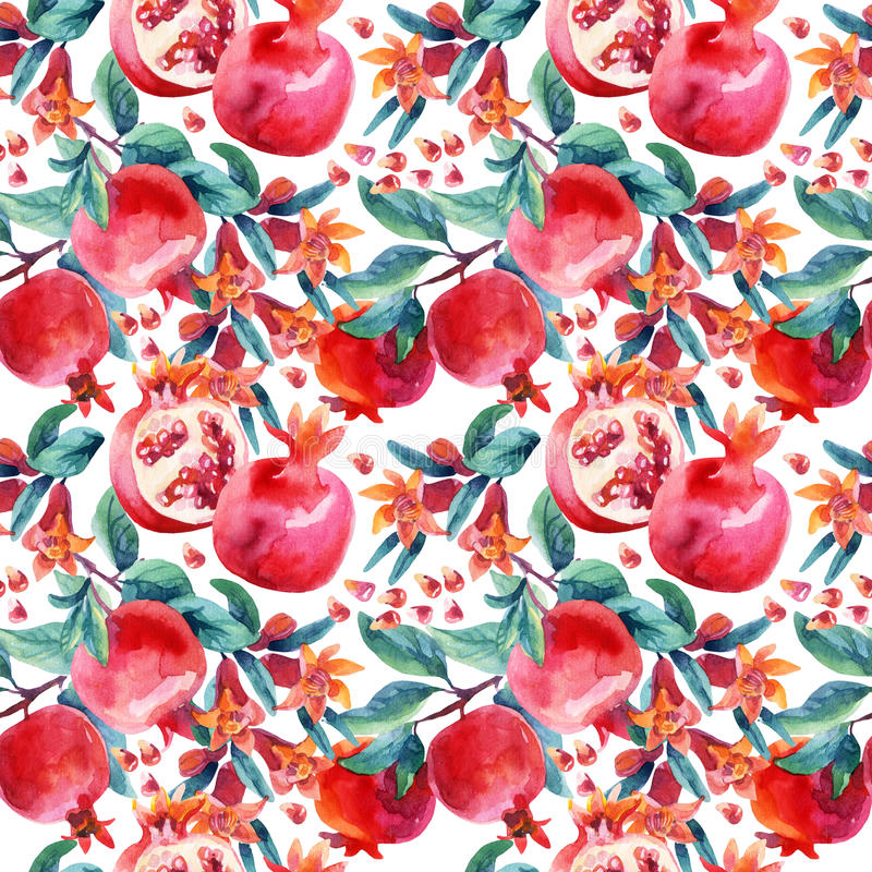Watercolor pomegranate bloom branches and fruit seamless pattern. Pomegranate fruit, berries and flower on white background. Hand painted illustration vector illustration