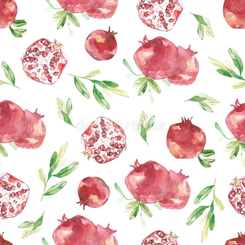 Watercolor pomegranate seamless pattern. Beautiful Botanical texture leaves and branches with fruit. Bright summer wallpaper desig royalty free illustration