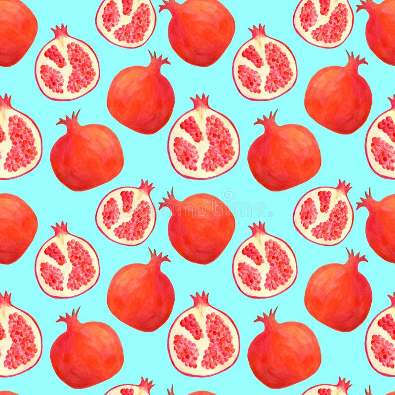Watercolor pomegranate seamless pattern. Hand drawn red fruit illustration background isolated on blue for food package design,. Decoration, menu, covers royalty free illustration