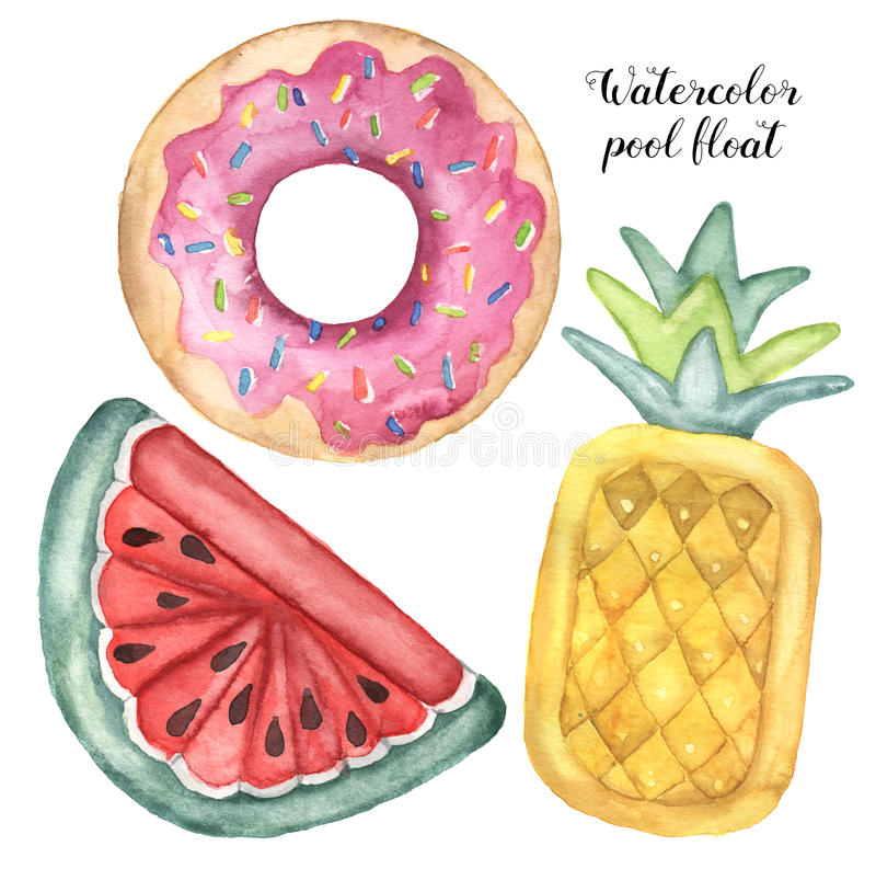 Watercolor pool floats set. Hand painted air toy isolated on white background. Donut, pineapple and watermelon toys stock illustration