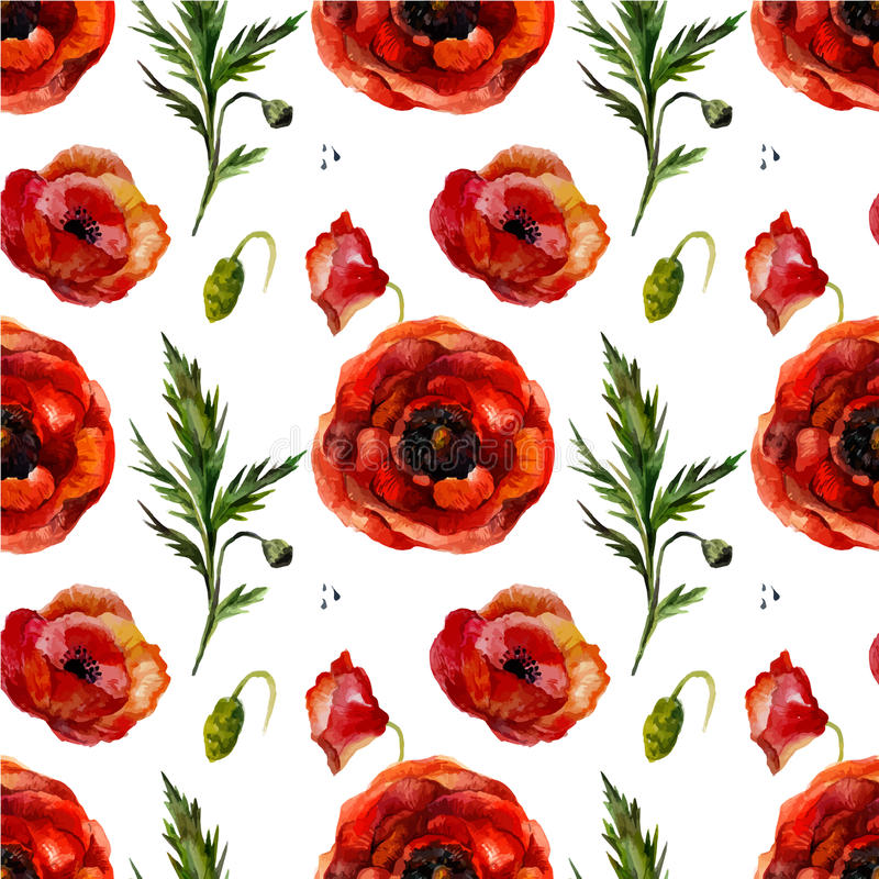 Watercolor poppies seamless pattern. Retro seamless floral pattern with vintage aquarell red flower poppy. Fashion boho style (shabby chic, hippie vector illustration