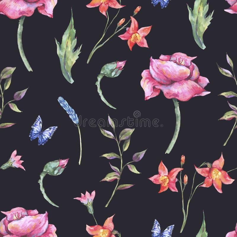 Watercolor poppy, blue butterflies, wild flowers seamless pattern, meadow herbs vector illustration