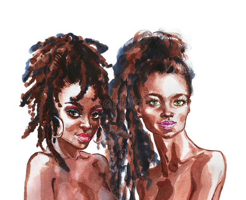 Watercolor portrait of african women stock illustration
