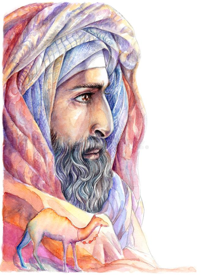 Watercolor portrait Bedouin, Arab with a beard. In a turban with a camel stock illustration