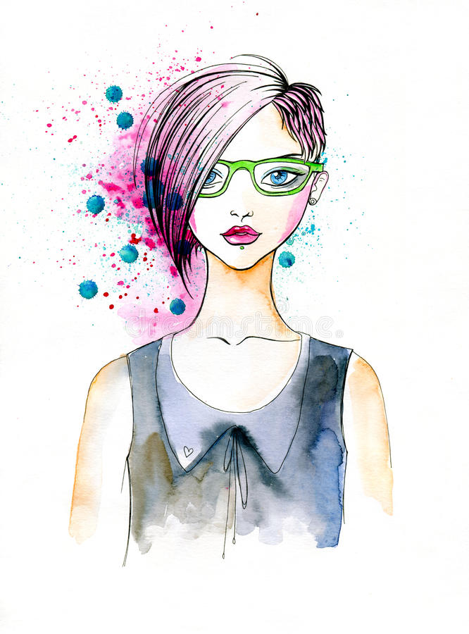 Watercolor Portrait Of Hipster Girl Stock Illustration