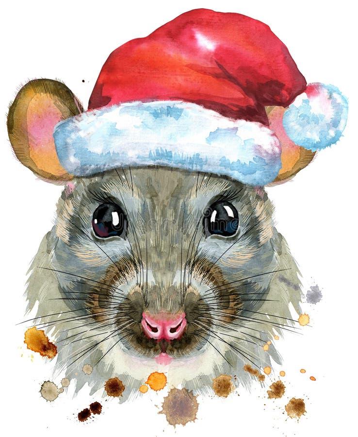 Watercolor portrait of rat in Santa hat with splashes vector illustration