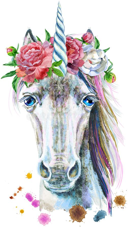 Watercolor portrait of a white unicorn with a flowers stock illustration