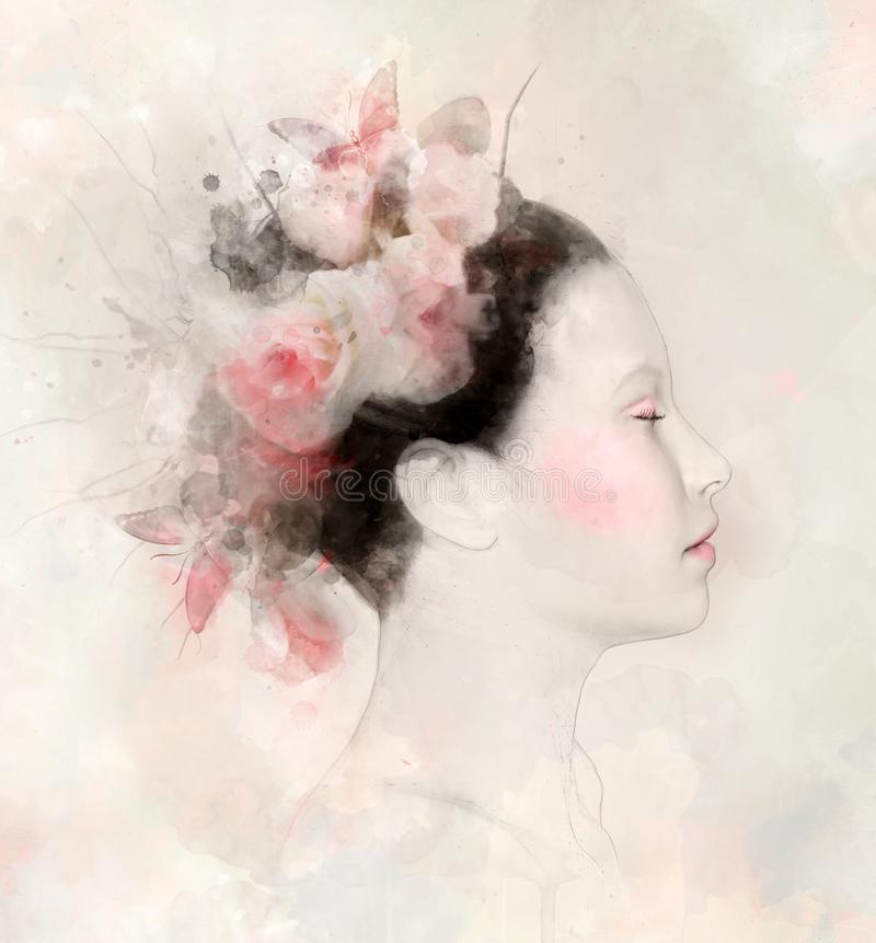 Watercolor portrait of a woman with pink roses. Butterflies and stains - digital watercolor painting vector illustration