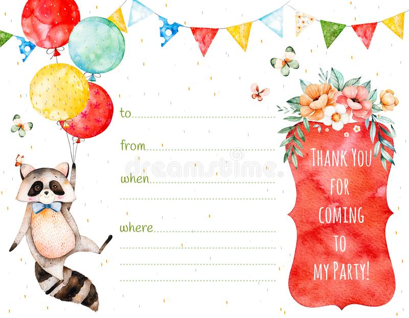 Watercolor postcard with beautiful bouquet and text royalty free illustration