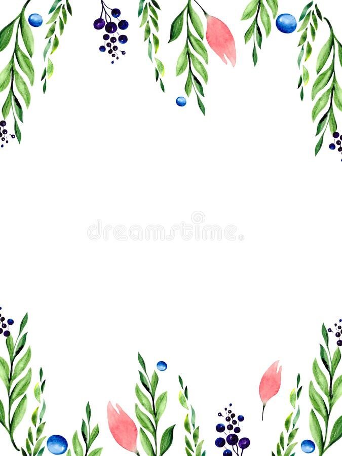 Watercolor postcard with delicate pink flowers stock images