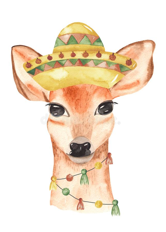 Watercolor poster invitation with mexican animals deer in the hat. Illustration with cute deer great for cards, baby shower, baby design, party, birthday vector illustration