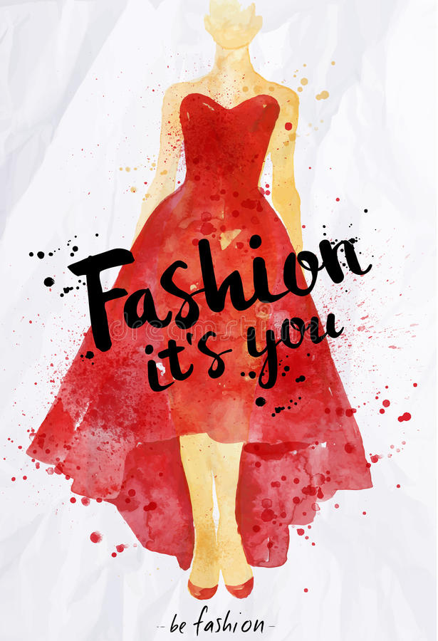 Watercolor poster lettering fashion its you vector illustration