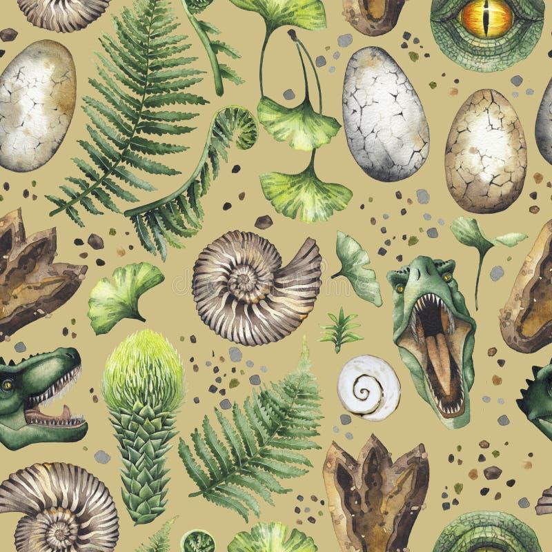 Watercolor prehistoric collection vector illustration