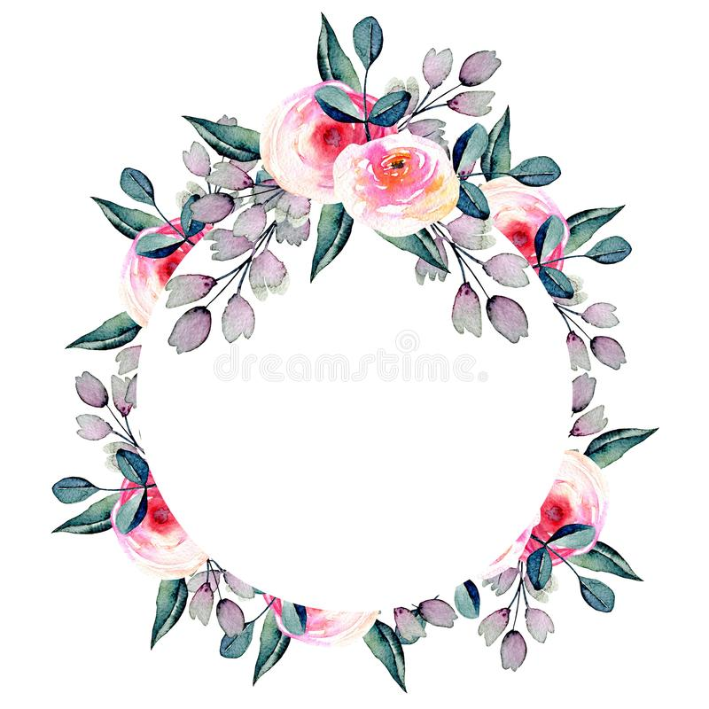 Watercolor pretty roses, blue and purple branches circle stock illustration