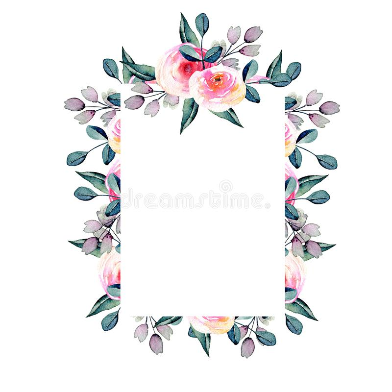 Watercolor pretty roses, blue and purple branches frame vector illustration