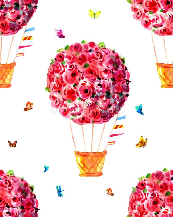 Watercolor print with red balloons, roses, red balloon, watercolor stains and butterflies. Seamless background royalty free illustration