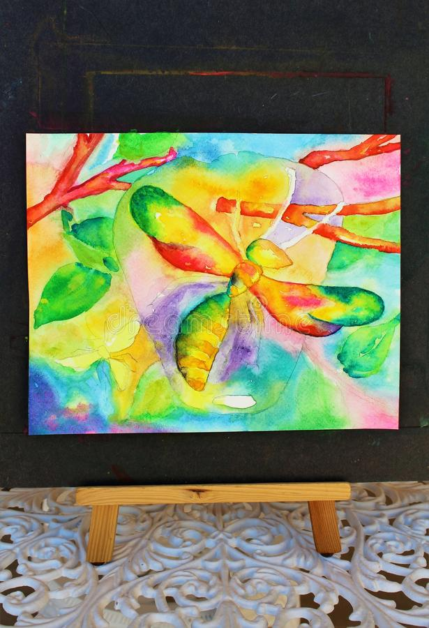 Watercolor Progress. Colorful vibrant abstract wasps with wasp nest hanging from tree limbs hand painted watercolor painting in progress royalty free illustration