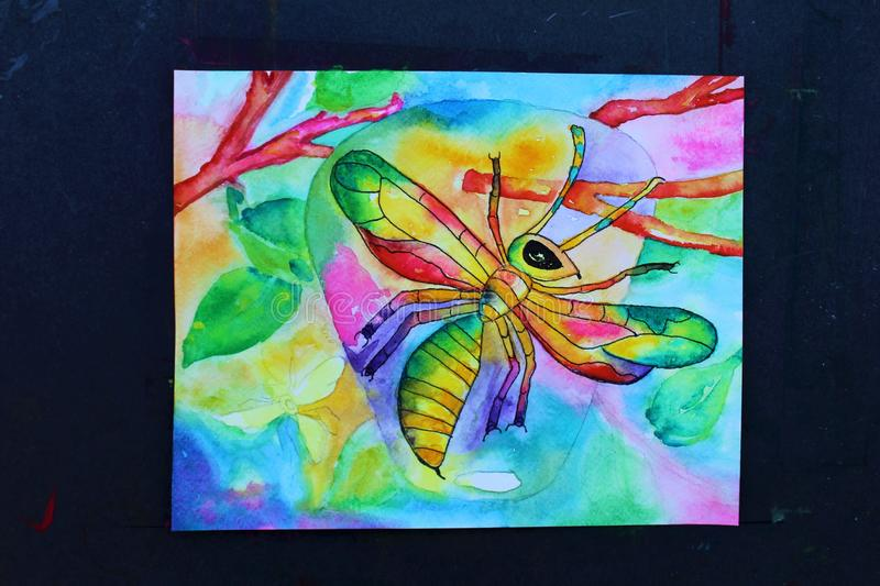 Watercolor Progress. Colorful vibrant abstract wasps with wasp nest hanging from tree limbs hand painted watercolor painting in progress vector illustration