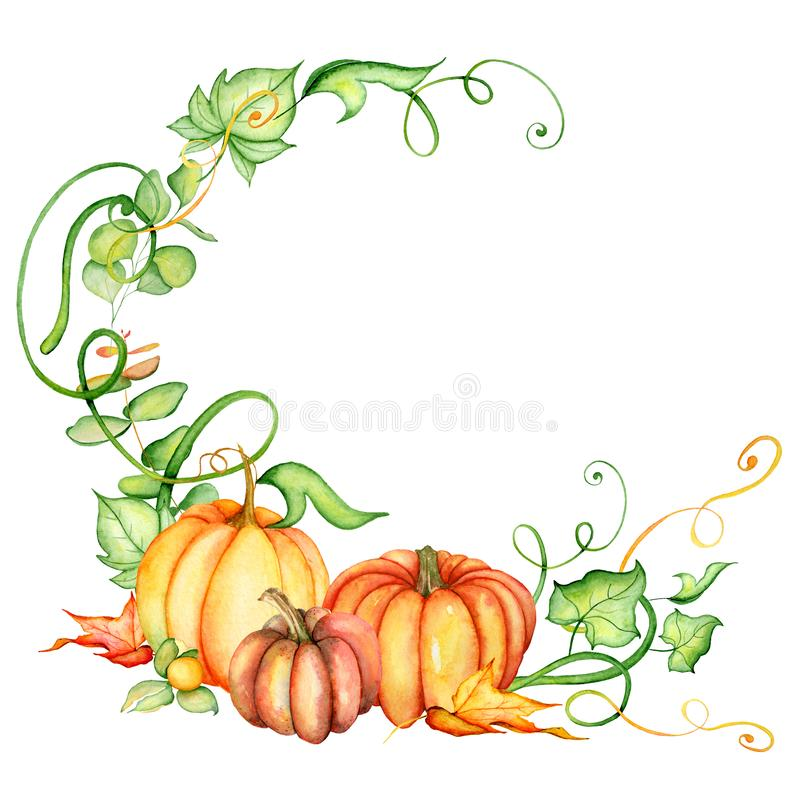 Watercolor pumpkin and autumn leaves wreath. Harvest composition. Happy Thanksgiving day. Hand drawn illustration stock illustration