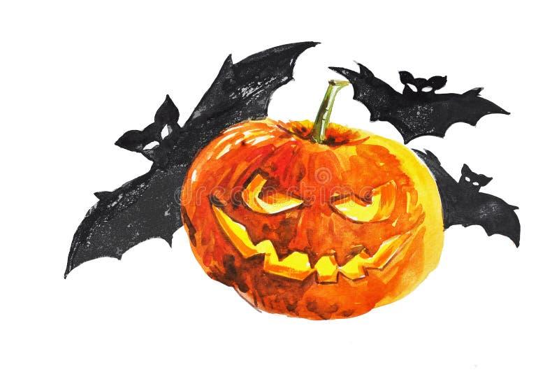 Watercolor pumpkin royalty free stock images