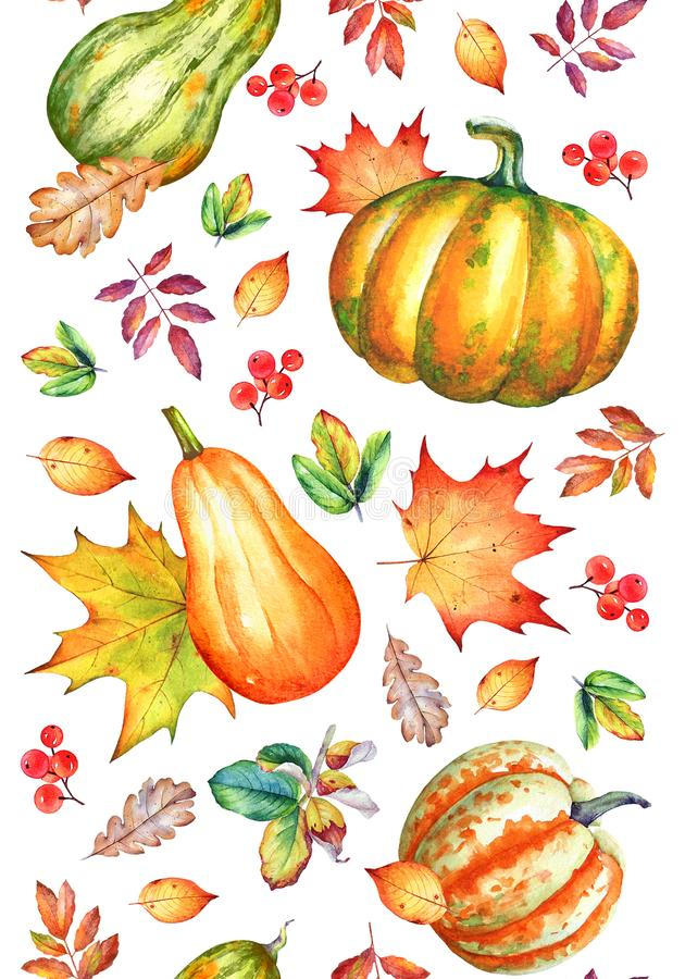 Watercolor pumpkins and autumn yellow leaves. Vertical seamless pattern vector illustration