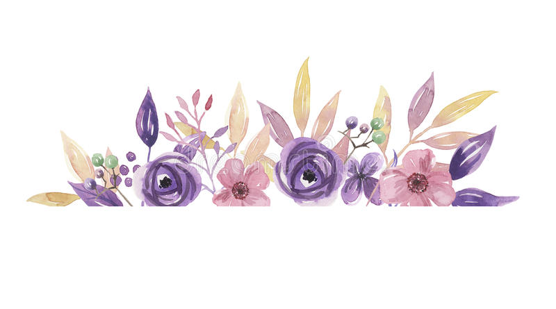 Download Watercolor Purple Border Frame Lilac Wreath Summer Flower Arrangement Pink Hand Painted Garland Stock Illustration