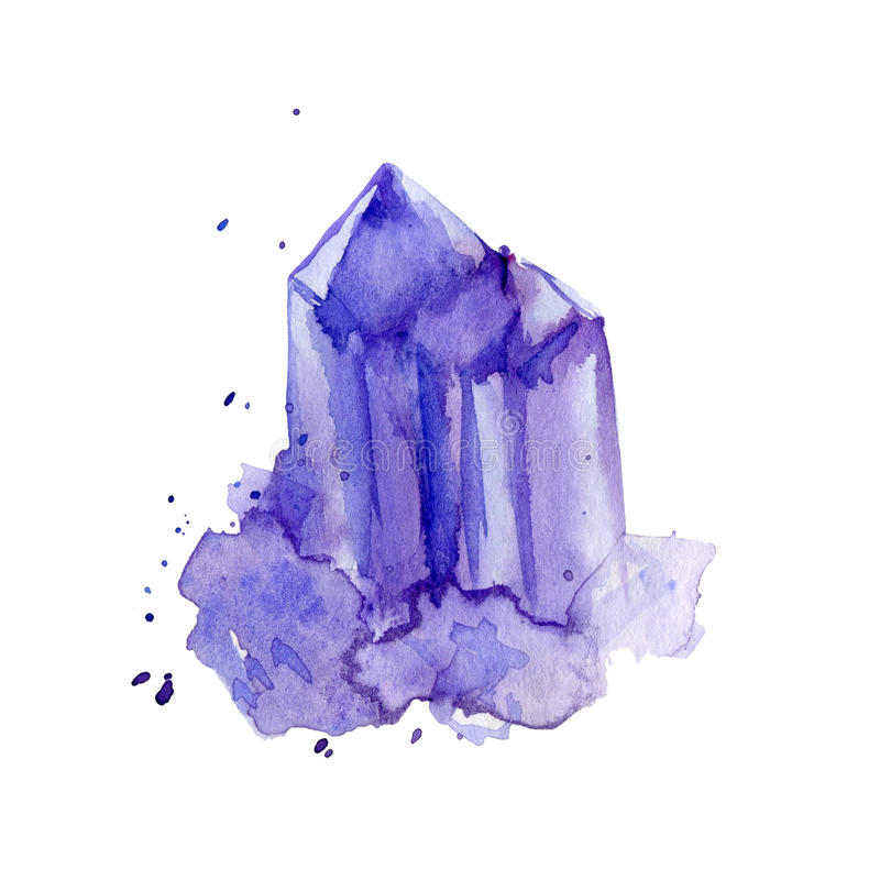 Watercolor purple crystal amethyst cluster hand drawn painting illustration isolated on white backdrop, tanzanit gem stone for des royalty free illustration