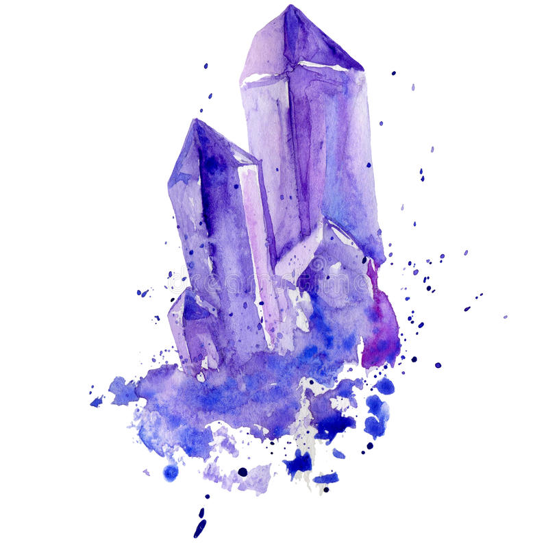 Watercolor Purple Crystal Amethyst Cluster Hand Drawn