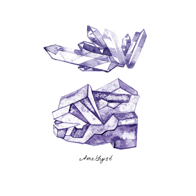 Watercolor purple crystal amethyst cluster hand drawn painting illustration isolated on white background royalty free illustration