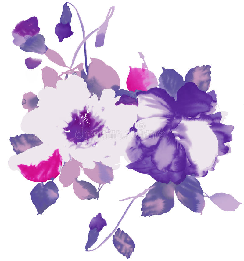 Watercolor of purple floral stock illustration