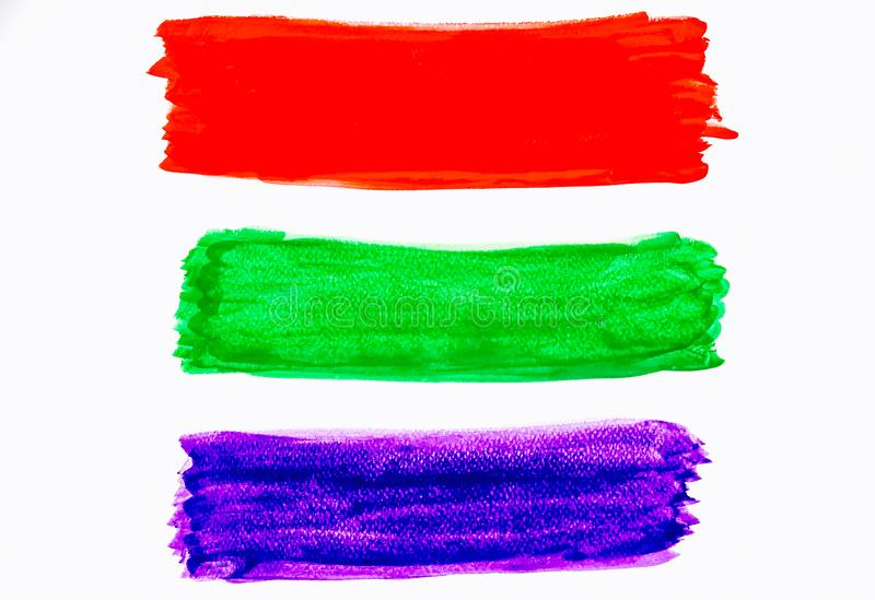 Watercolor purple and green and red brush strokes background design isolated in white background stock photo