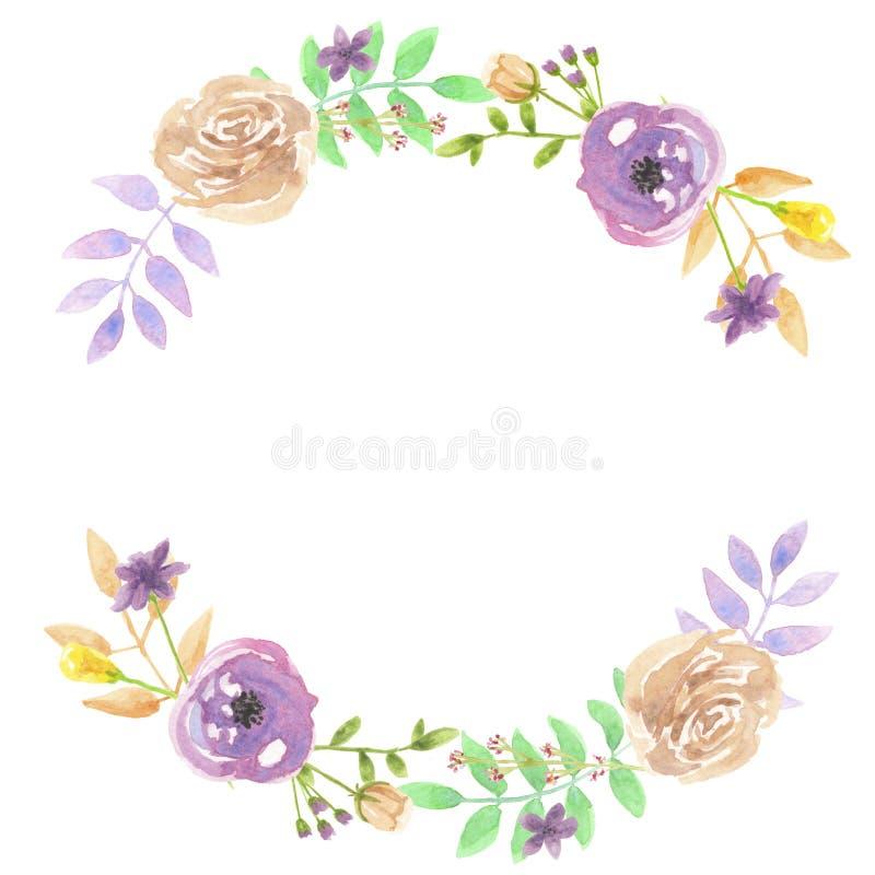Watercolor Purple Leaf Wreath Garland Spring Summer Wedding Berries Leaves royalty free illustration