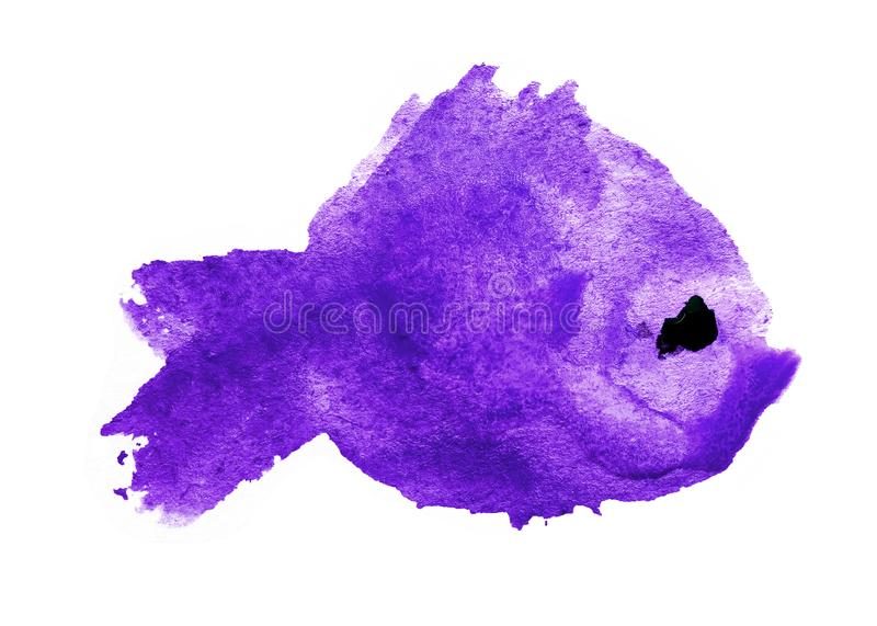 Watercolor purple violet blot stain in the form a silhouette of a fish with a black eye on a white background isolated. Colorful. Ink of sea ocean animal stock illustration