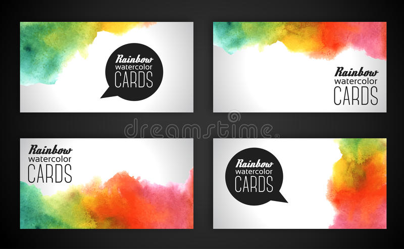 Watercolor rainbow business cards. Vector illustration. Grunge paper template. Water, wet paper. Blobs, stain, paints blot. Composition for scrapbook elements stock illustration