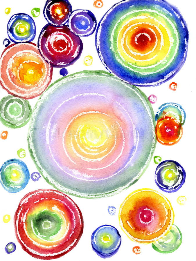 Watercolor a rainbow circles royalty free illustration