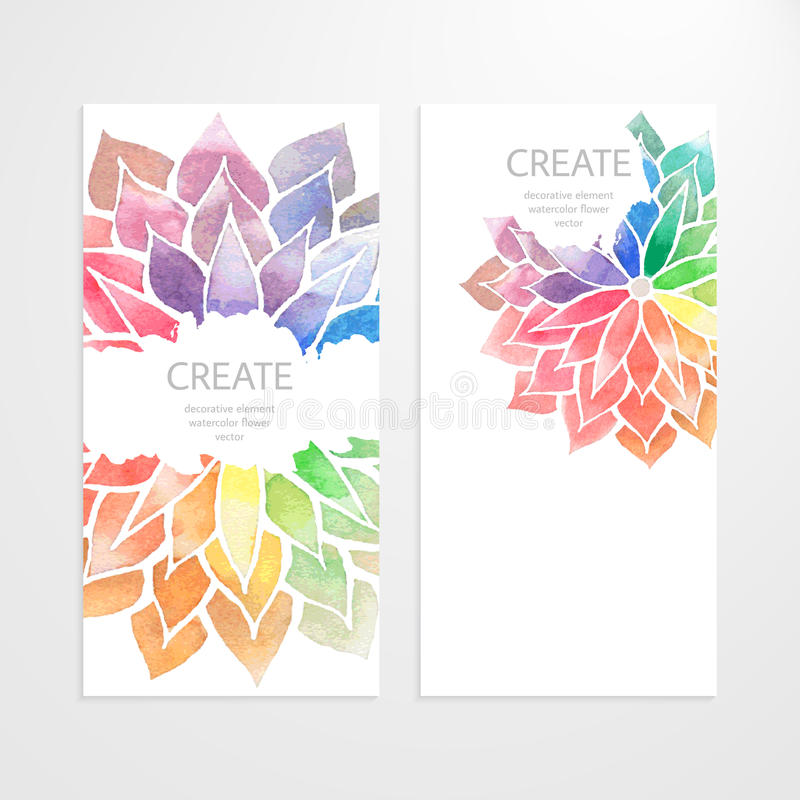 Watercolor Rainbow Flowers. Banners, Flyers Stock Vector