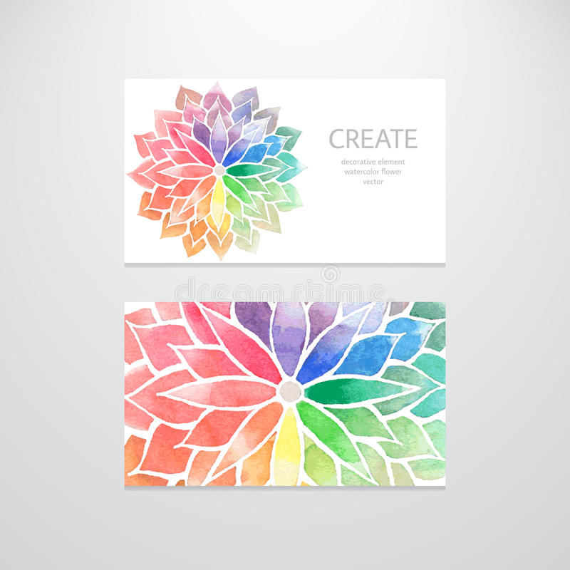 Watercolor Rainbow Flowers. Business Cards Stock Vector ...