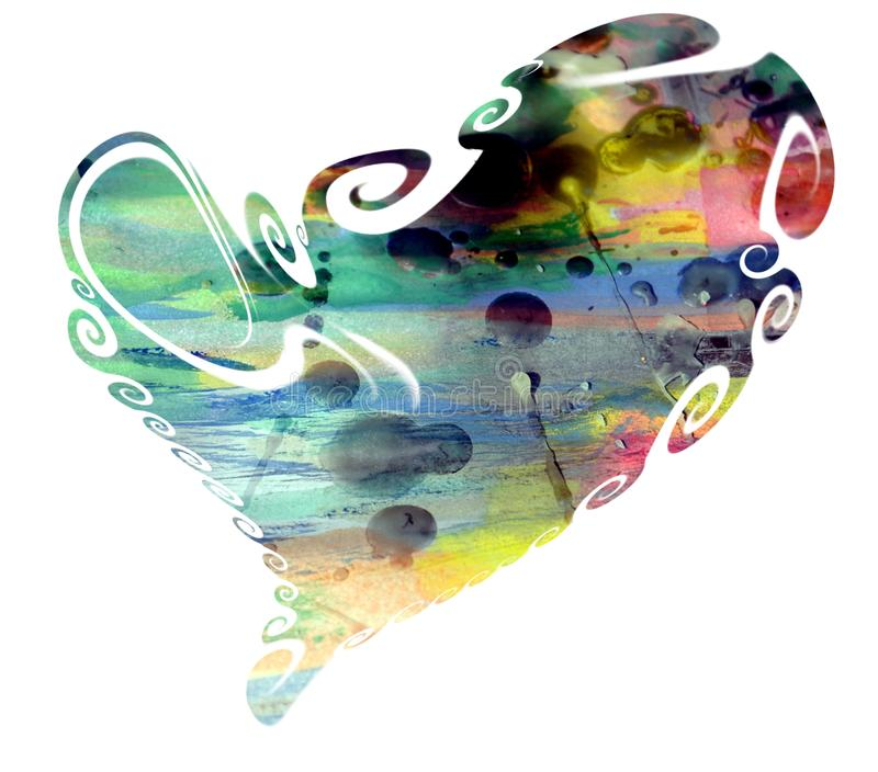 Watercolor rainbow heart and waxy spots royalty free stock photo
