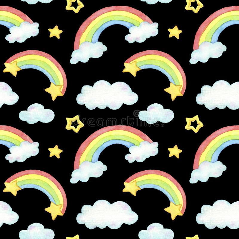 Watercolor rainbow, cloud and star seamless pattern. For design, print or background. black stock illustration