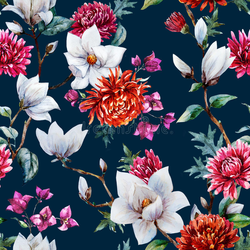 Watercolor raster floral pattern. Beautiful raster pattern with nice watercolor chrysanthemum and magnolia stock illustration
