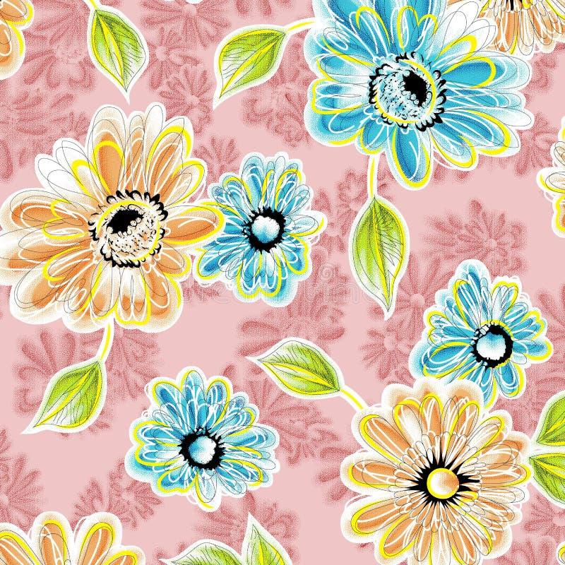 Watercolor raster flower pattern stock illustration